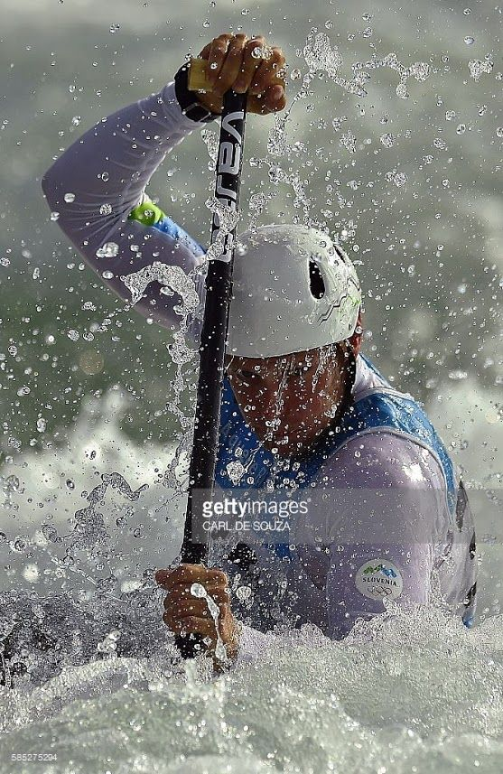Slovenia's canoeist Benjamin Savsek takes part in a training session at the…