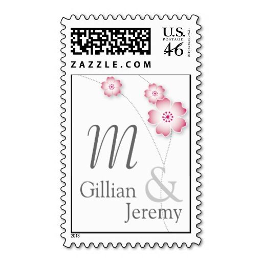 Cherry Blossom Monogram Custom US Postage Stamps with Monogram and names for wedding invites. Matching! http://www.zazzle.com/cherry_blossom_monogram_custom_postage_stamps-172328732647725328?rf=238505586582342524