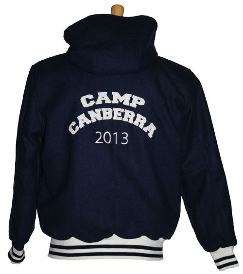 Camp Canberra 2013 Varsity Jacket with a hoodie instead of a standard collar.  Great for colder areas or a streetwise look.