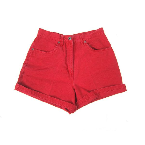 90s RED Jean Shorts High Waist Denim Shorts Roll Up Cuffs Hipster... ($28) ❤ liked on Polyvore featuring shorts, denim shorts, red high waisted shorts, hipster shorts, jean shorts and high rise shorts