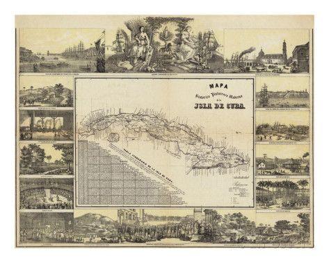 Mapa Historico Pintoresca Moderno de al Isla De Cuba, c.1853 Prints by B. & C. May at AllPosters.com