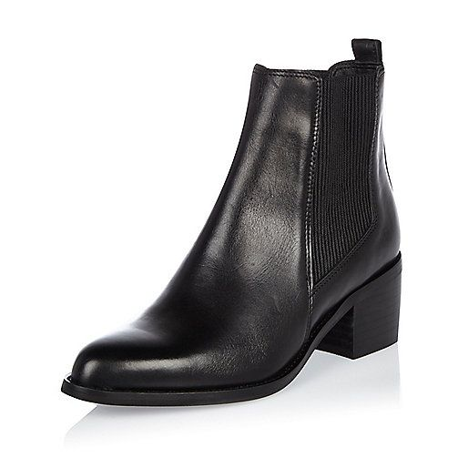 Black leather block heel Chelsea boots - boots - shoes / boots - women