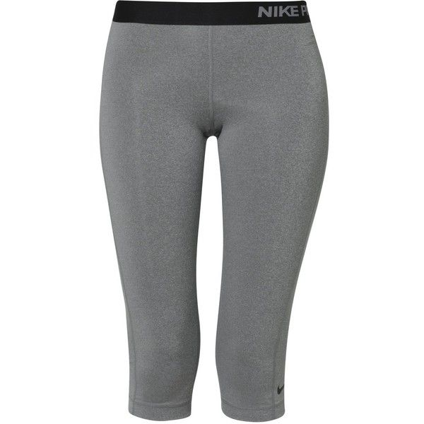 Nike Performance PRO Tights carbon heather/black ($28) ❤ liked on Polyvore featuring activewear, activewear pants, pants, leggings, nike, sport, workout, anthracite, nike activewear pants and nike sportswear