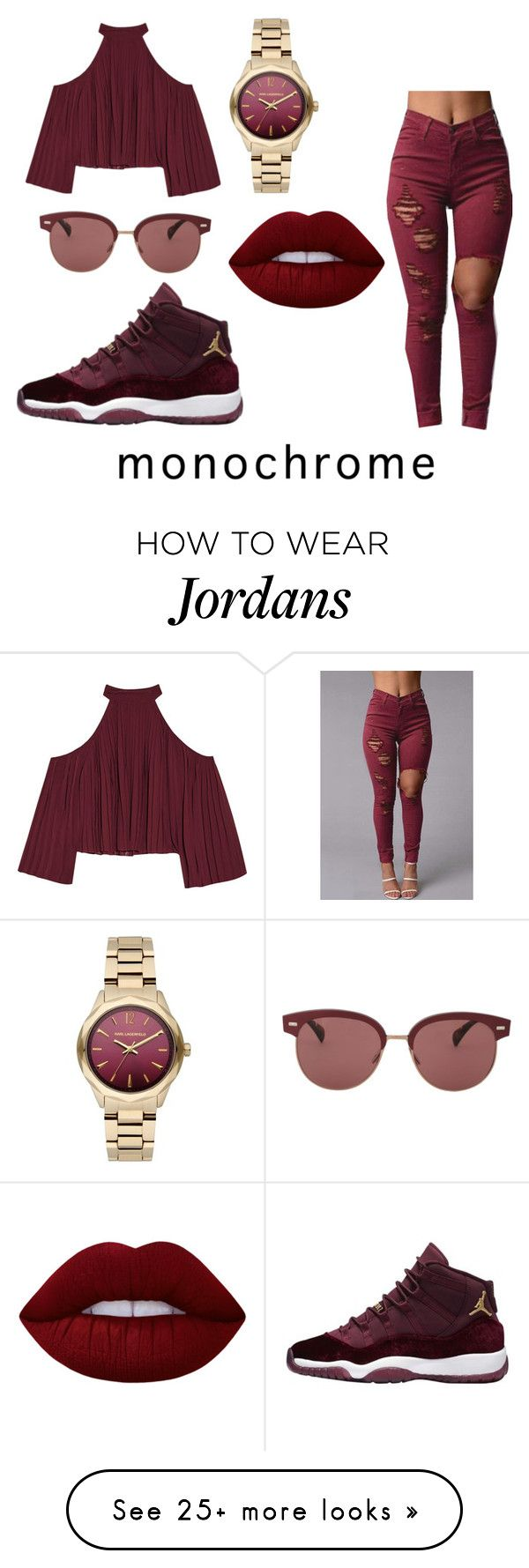 """""""burgundy"""" by vjur-tw on Polyvore featuring W118 by Walter Baker, Karl Lagerfeld, Oliver Peoples and Lime Crime"""