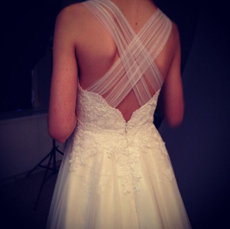 Neat way to add straps to a strapless dress