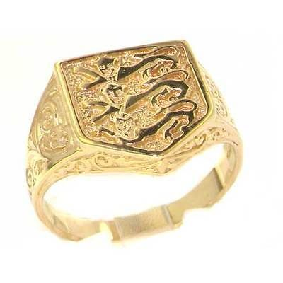 Quality 9ct solid #hallmarked gold england football team 3 #lions #signet ring,  View more on the LINK: 	http://www.zeppy.io/product/gb/2/311788591079/