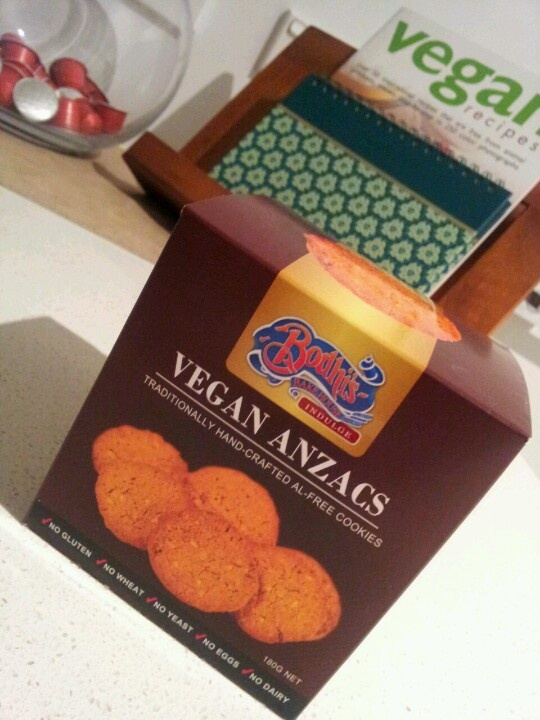 Yummy #vegan Anzac cookies given to me as a gift from Perth. Delicious! Must try to find them in #adelaide.