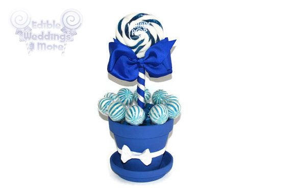 Royal Blue Lollipop Centerpiece Blue by EdibleWeddings, $19.99