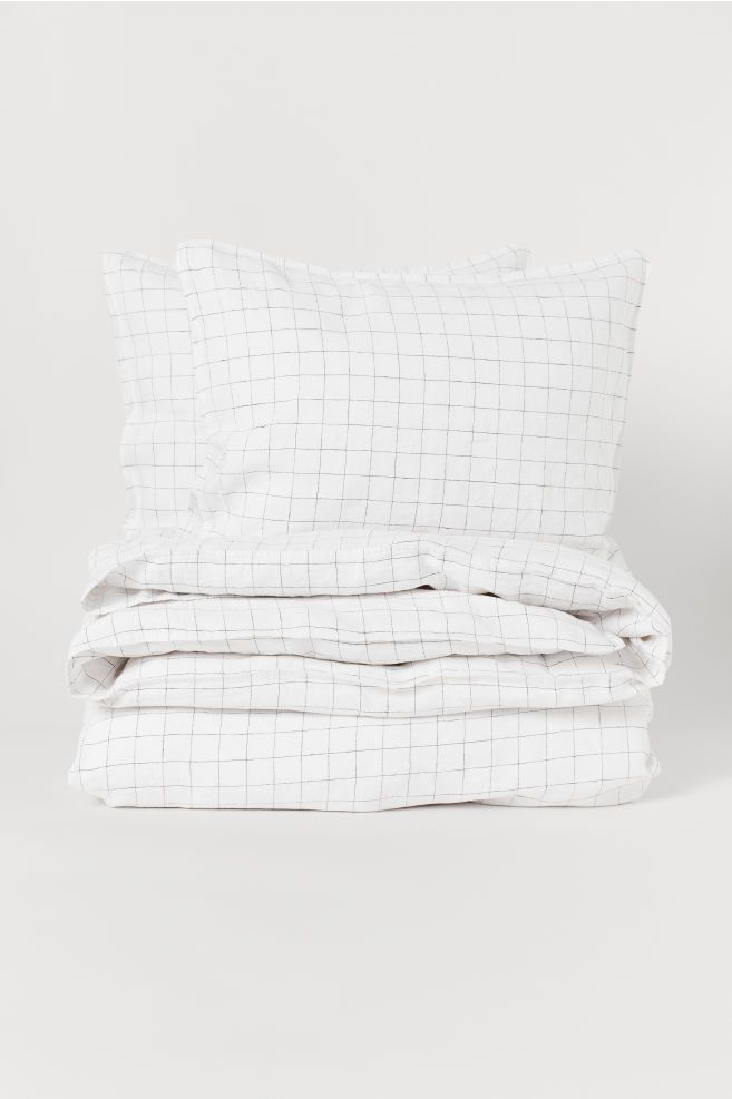 Washed Linen Duvet Cover Set White Checked Home All H M Us Duvet Cover Sets Washed Linen Duvet Cover Linen Duvet