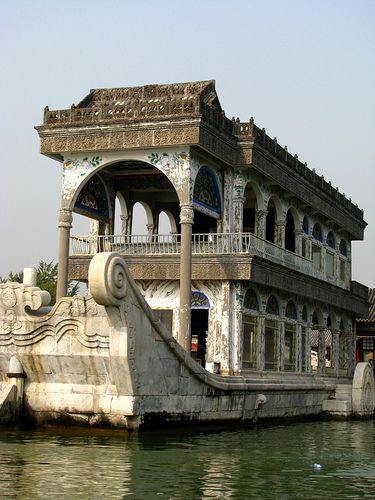The Marble Boat. Located in the Summer Palace.  Constructed in 1750.  Beijing, CHINA.