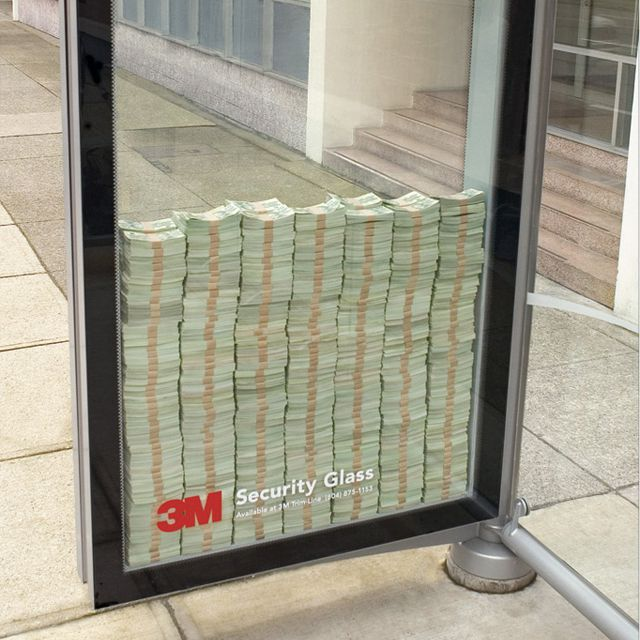 3M Security Glass: Creative Noticed, Buses, Security Glasses, Marketing, Advertising, Ads, Bus Stop, 3M Security