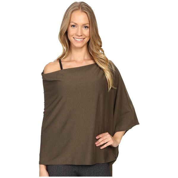 FIG Clothing Poptun Poncho (Sencha) Women's Coat ($50) ❤ liked on Polyvore featuring outerwear, lightweight poncho, brown poncho, long sleeve poncho and travel poncho