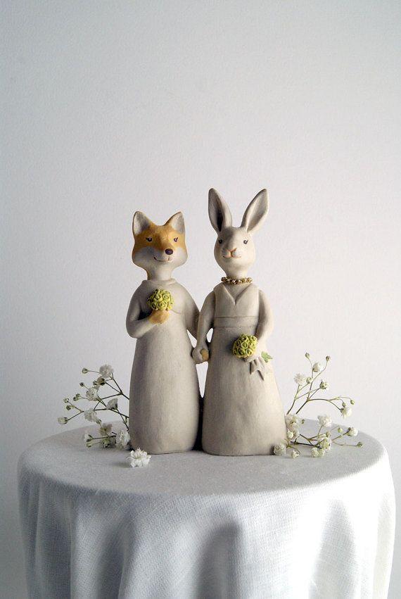 Fox And Rabbit Wedding Cake Topper Animal Bride