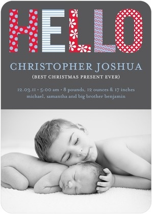 baby announcement. Rounded edge w/ grey font block.