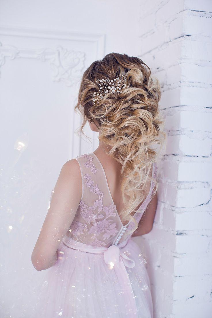 rose quartz serenity  bride curls wedding hair makeup flowers evening dress