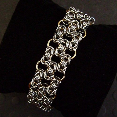 Honeycomb Byzantine Stainless Steel & Brass Chain Mail Bracelet Chainmail Maille
