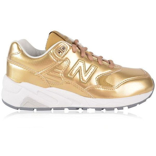 New Balance Wrt580Ms Trainers ($57) ❤ liked on Polyvore featuring shoes, sneakers, gold, metallic shoes, fleece-lined shoes, laced sneakers, new balance shoes and leather lace up sneakers