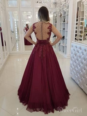 dab642b9b9e Burgundy Beaded Long Prom Dresses Sheer Back Polka Dot Ball Gown ARD2095 in  2019