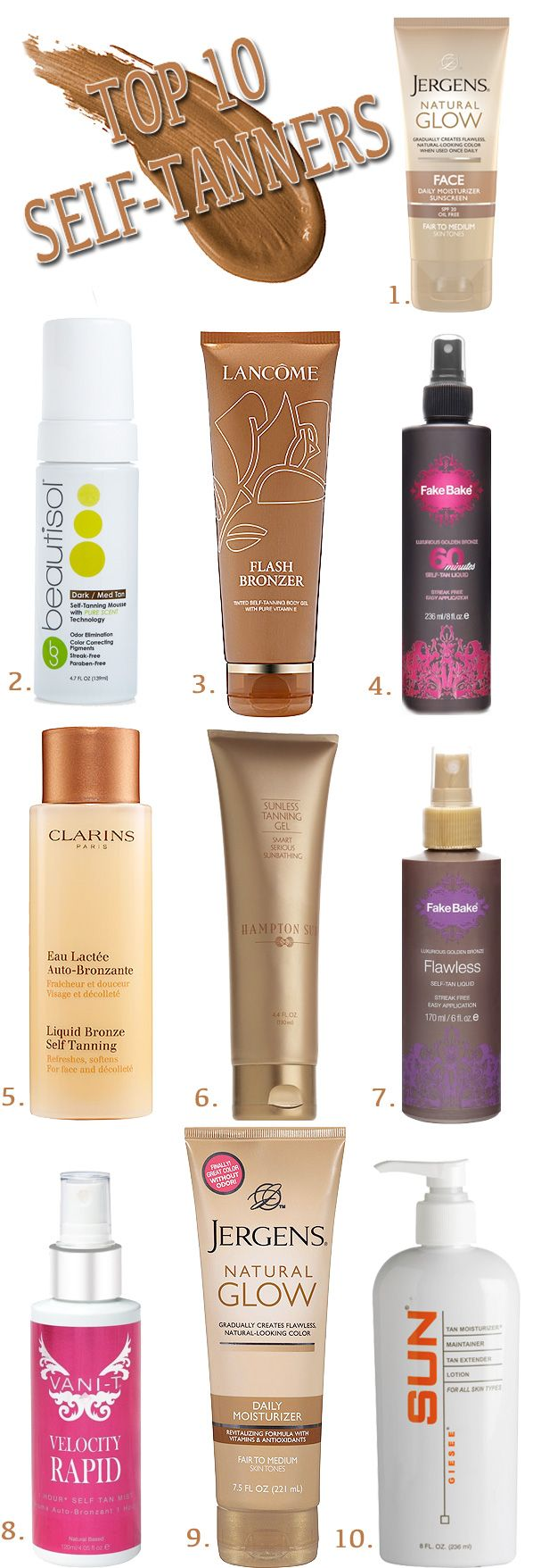 Extend your summer tan with one of the 10 best self tanners ( I have #9 and man does that stuff work. A nice gentle tan with no orange)