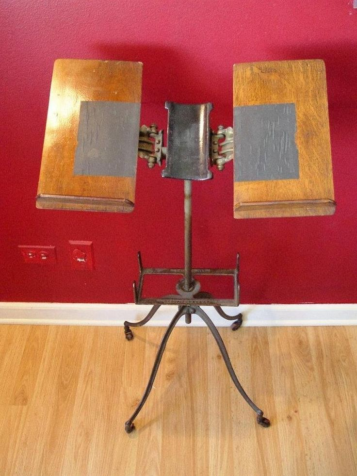Antique Dictionary Bible Book Stand Cast Iron Wood Urban Industrial Bible Stand