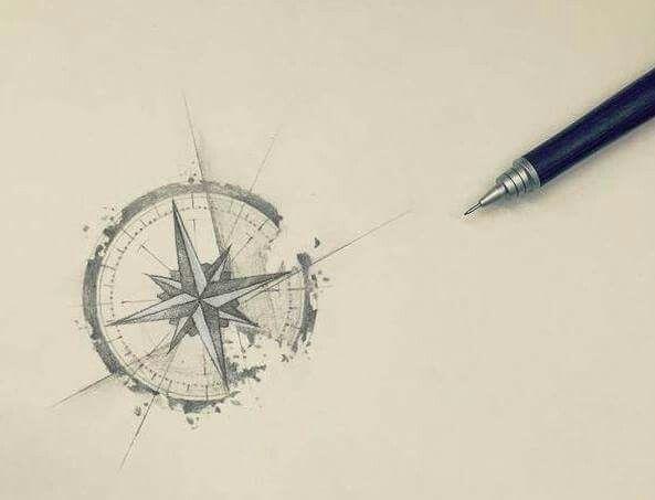 Degrading compass sketch tattoo