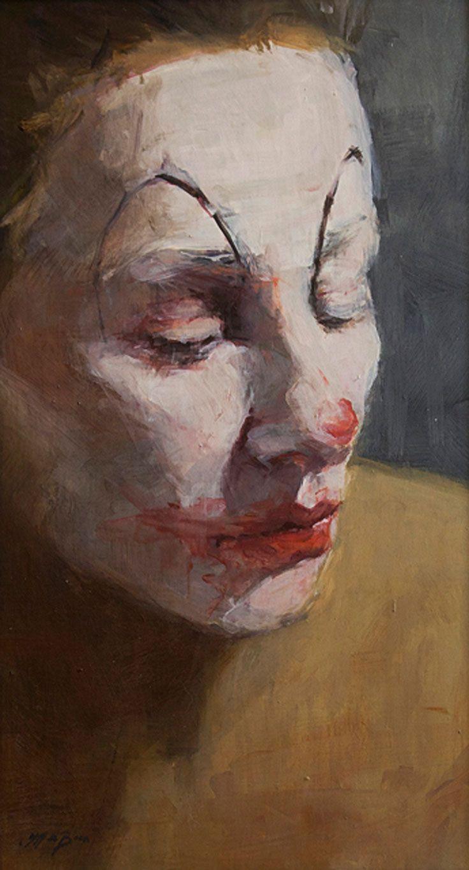 """""""Happy Face V"""" - Jantien De Boer, oil on panel, 2013 {female head clown woman face painting} jantiendeboer.com"""