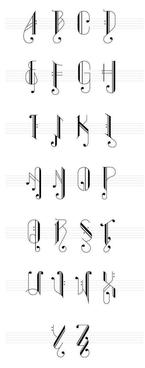 Calligraphie: lettres écrites sous forme de notes de ...