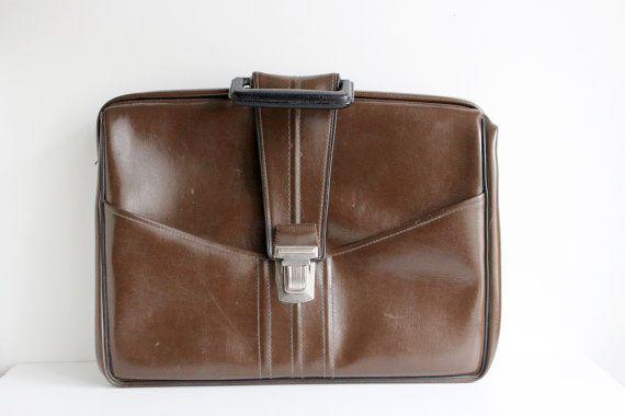 Soviétique cartable Vintage, sac de voyage Vintage, grande sacoche marron, sac à main en Faux cuir, accessoire rétro, cadeau pour lui, URSS à partir des années 1970