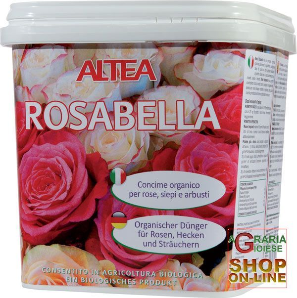 ALTEA ROSABELLA CONCIME ORGANICO GRANULARE PER ROSE, SIEPI E ARBUSTI kg. 3,5 https://www.chiaradecaria.it/it/altea/473-altea-rosabella-concime-organico-granulare-per-rose-siepi-e-arbusti-kg-35-8033331133149.html