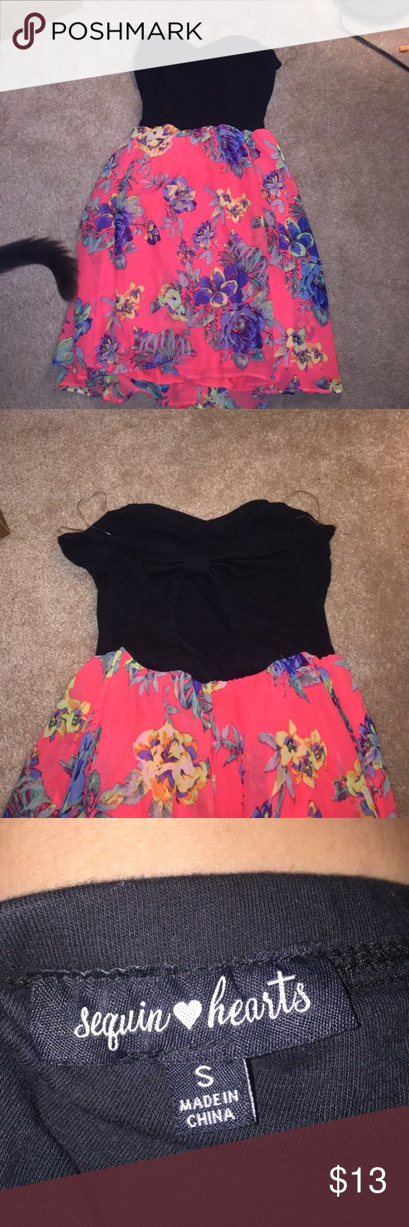 Cute summer dress!!! A black and neon pink summer dress with flower accents! Strapless with open back! Worn once and loved it! Sequin Hearts Dresses Mini