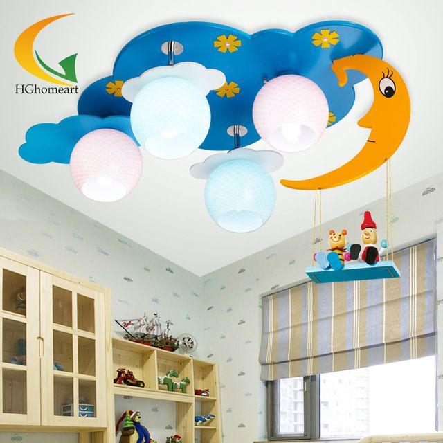 Луна и звезды, детская спальня лампа освещения мультфильм детская комната потолочный светильник творческий