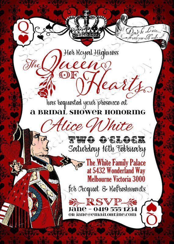 Queen Of Hearts Invitation Instant