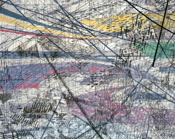 Julie Mehretu: Highlife (of Graceland after C. Abani). 2006. Ink and acrylic on canvas. 72 × 96 in. White Cube.: