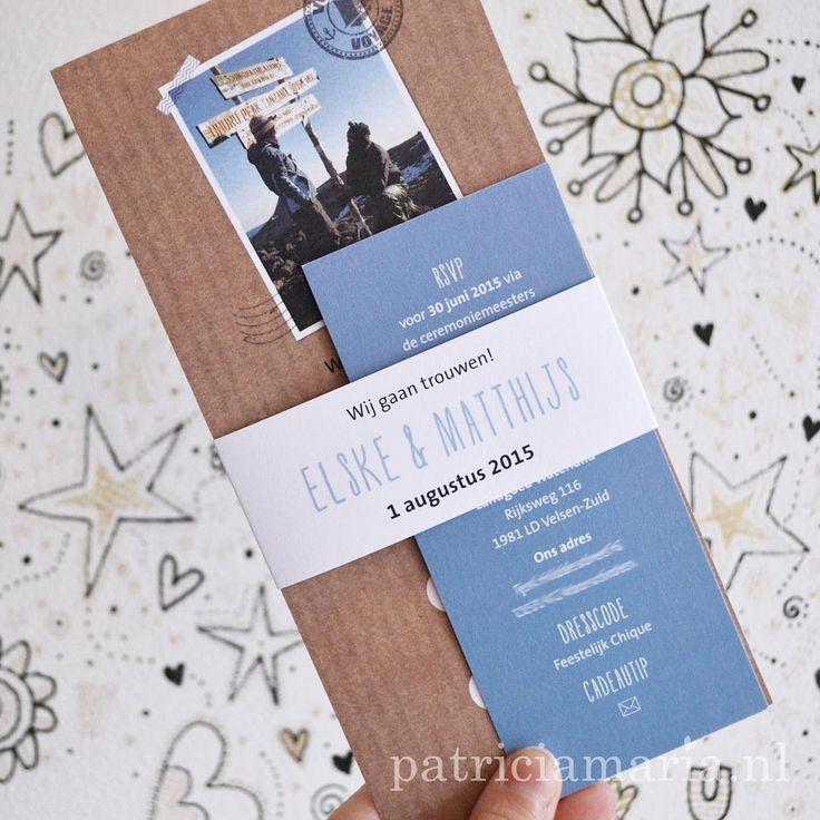 #Trouwkaart in #kraftpapier style, met een foto van het #aanzoek erop! #trouwerij #bruiloft #trouwkaarten #craft #papercraft #PatriciaMariaStudio #Leiden