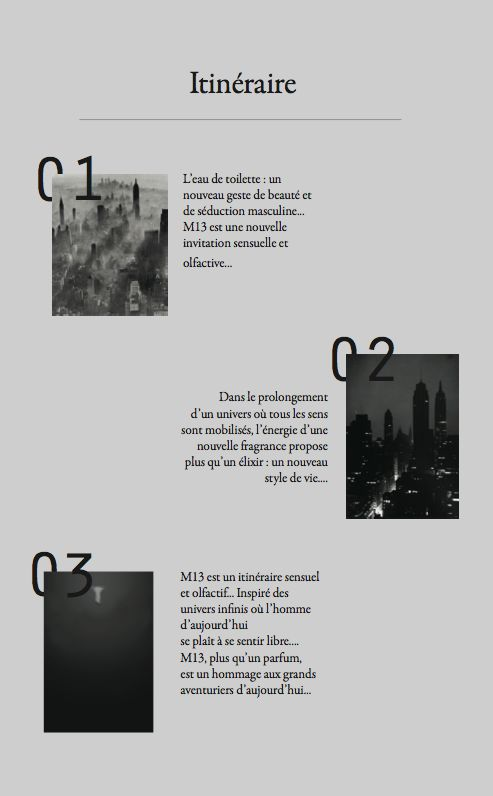 M13; MoodBoard/Packaging/Dossier de Presse by Margaux Vidrequin, via Behance
