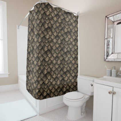 Dragon Scales - Gray Brown Shower Curtain - shower curtains home decor custom idea personalize bathroom