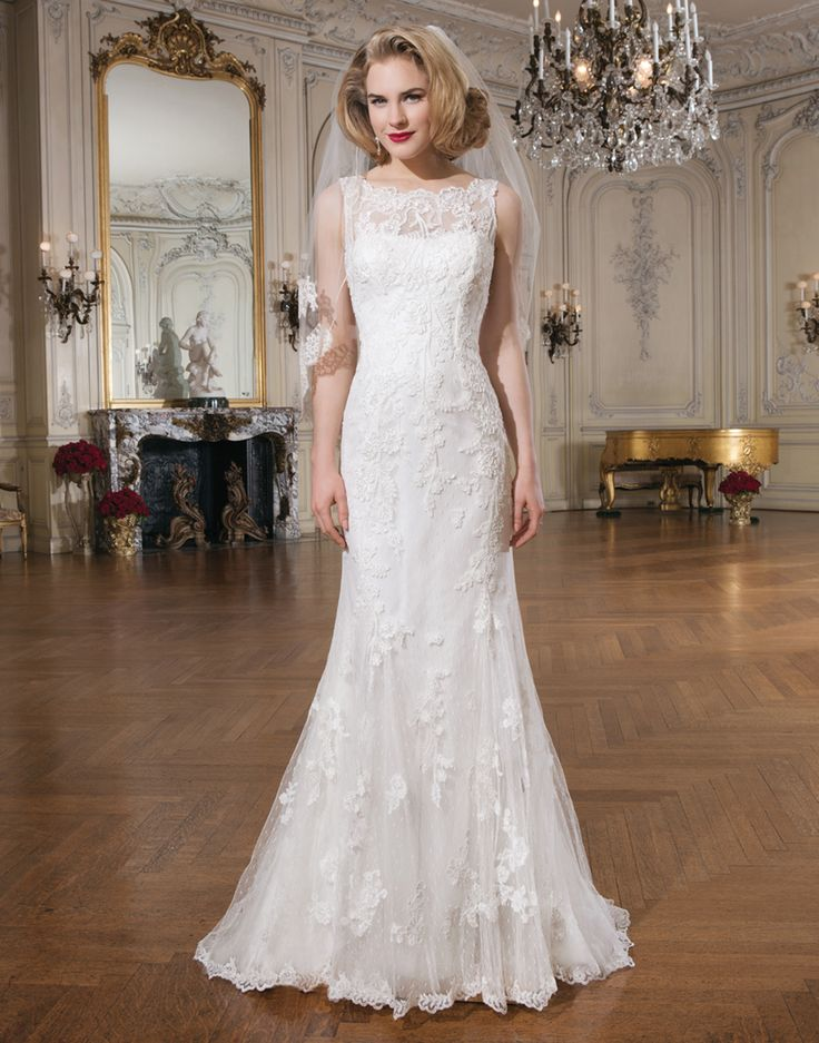 Best Justin Alexander wedding dresses style A lovely lace mermaid gown that has a bateau neckline
