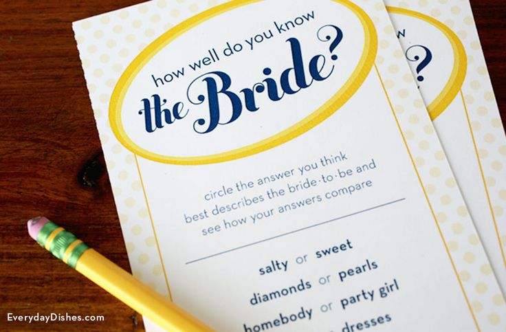 Printable bridal shower game: How well do you know the bride?