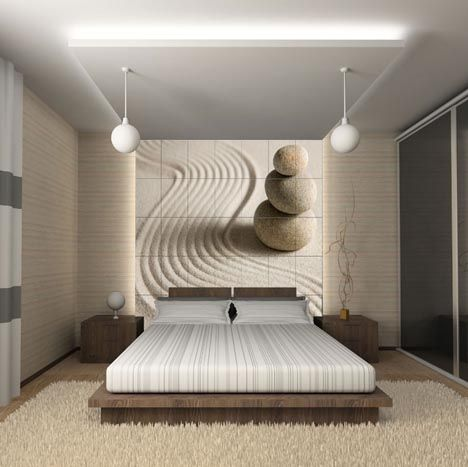 Modern new use for tiles ~ Decorative wall murals as seen here in this bedroom.