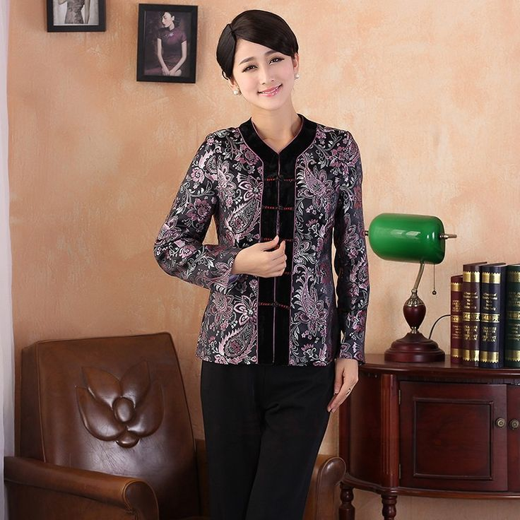 Fantastic Modern V Neck Brocade Chinese Jacket - Silver - Chinese Jackets & Coats - Women