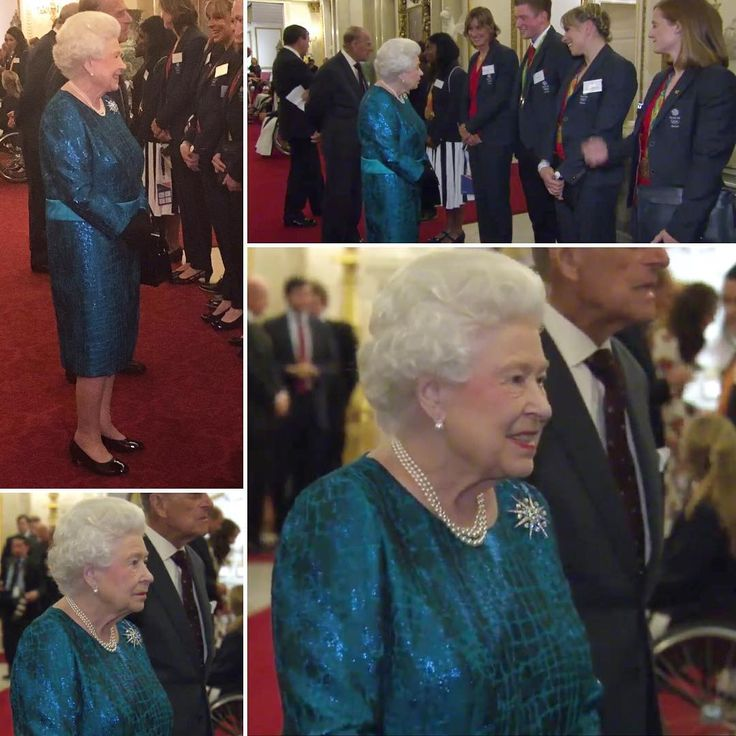 The Queen and Prince Philip are hosting @TeamGB Olympic and Paralympic medalists at Buckingham Palace tonight. I love these events when we get to see her beautiful white hair but unfortunately I can't say that I'm a fan of her dress anymore than I am of Kates. Mostly because of the band around the waist. However, the colour is brilliant on her and naturally her pearls and brooch accent beautifully. ...