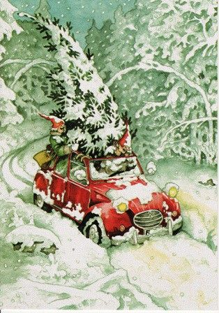 Yule style! Gnomes and their Holiday tree in the snow!! Christmas tree on top of car illustration