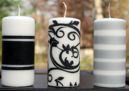 Decorating candles using tissue paper, wax paper, and a hair dryer.