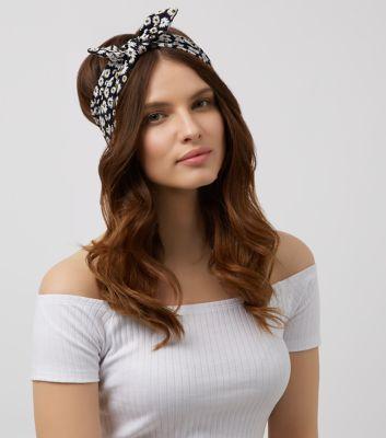 Black Daisy Print Bow Headband