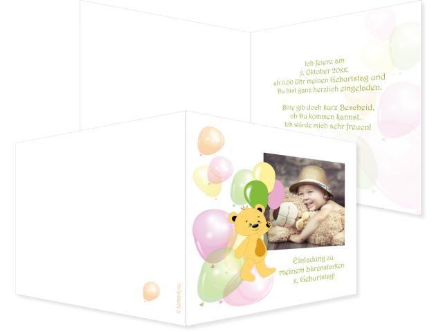 Ballonbärchen Einfachkarte 2-seitig 148x105mm bunt, Geburtstag, Einladungskarten, Geburtstagskarten, Kindergeburtstag, Kids, Birthday,  Party, Birthdayparty