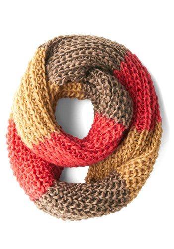 Craft Fair Cute Scarf - Red, Yellow, Grey, Solid, Knitted, Colorblocking, Fall, Winter, Woven