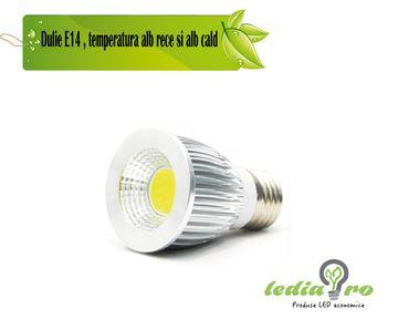 Spot LED COB 3W soclu E14 3w 220v aluminiu alb rece si alb cald