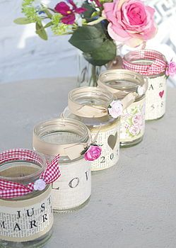 Personalised Recycled Jam Jar Candle Holders. Could use scripture or words of hope.