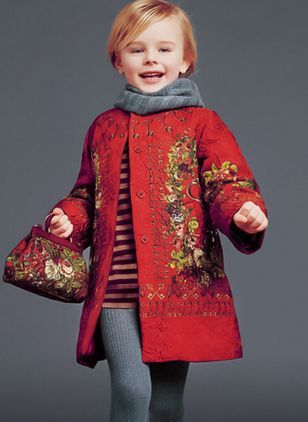 9d07e1351 Girls  Casual Floral Round Neck Coats