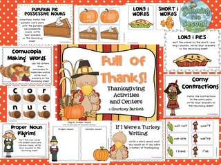 Swimming Into Second: Full of Thanks (centers and activities)